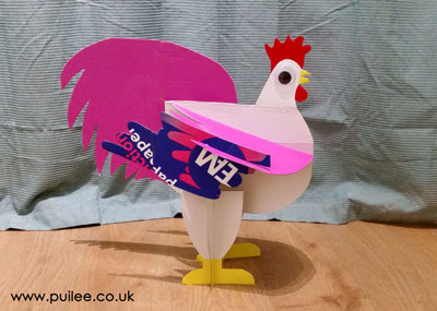 3D Cardboard Rooster by Artist Pui Lee