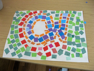 One of the colourful mosaic pictures made by the participants!
