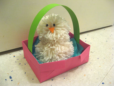 Example of pom pom chick and origami basket I made earlier!